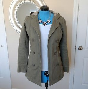 Roxy Double-breasted Green Coat Size M